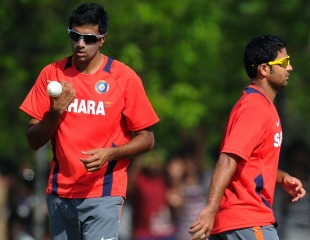R Ashwin and Piyush Chawla during a net session, World Cup, Chennai, March 17, 2011