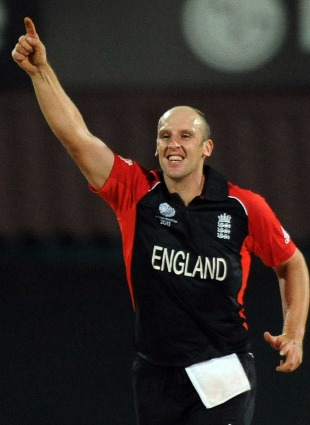 James Tredwell celebrates one of his early breakthroughs, England v West Indies, World Cup, Group B, March 17, 2011