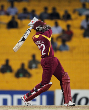 Andre Russell produced a fine innings to keep West Indies on course, England v West Indies, World Cup, Group B, March 17, 2011