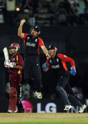 Ramnaresh Sarwan's calm innings ended when he popped a catch to Ian Bell, England v West Indies, World Cup, Group B, March 17, 2011