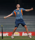 Jason Krejza has a bowl during practice, Colombo, March 18, 2011
