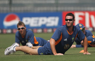 Shaun Tait warms up with his team-mates, Colombo, March 18, 2011