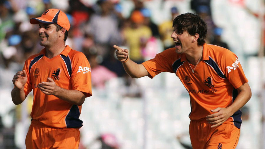 Pieter Seelaar has a laugh after dismissing Paul Stirling