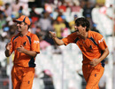 Pieter Seelaar has a laugh after dismissing Paul Stirling, Ireland v Netherlands, World Cup 2011, Group B, March 18, 2011