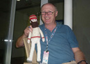 Vic Marks poses with a doll of WG Grace, World Cup 2011, Chennai, March 17, 2011