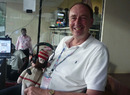 Jonathan Agnew takes a break while woolly WG Grace gets the headset on, World Cup 2011, Chennai, March 17, 2011