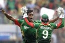 Rubel Hossain and Mushfiqur Rahim celebrate dismissing JP Duminy
