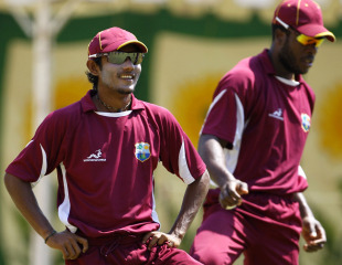 Devendra Bishoo looks on during West Indies' training session, Chennai, March 19, 2011