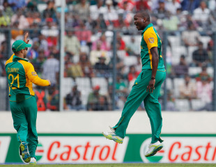 Lonwabo Tsotsobe is pumped after knocking over Imrul Kayes, Bangladesh v South Africa, Group B, World Cup 2011, Mirpur, March 19, 2011