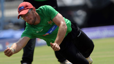 Charles Coventry fields during Zimbabwe's training session