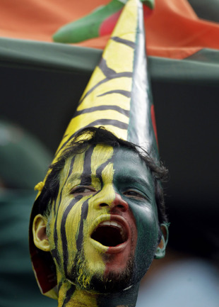 A Bangladesh fan cheers his team on, Bangladesh v South Africa, Group B, World Cup 2011, Mirpur, March 19, 2011