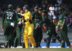 Tempers frayed between Brad Haddin and the Pakistan fielders, after Ricky Ponting was caught behind via a referral, Australia v Pakistan, Group A, World Cup 2011, Colombo, March 19, 2011