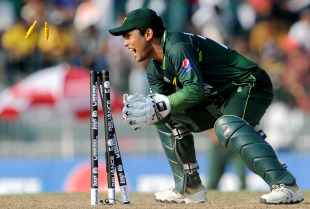 Kamran Akmal completes the run out of Cameron White, Australia v Pakistan, Group A, World Cup 2011, Colombo, March 19, 2011
