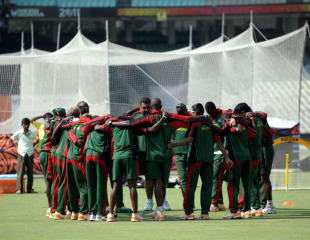 Kenya get into a huddle during practice ahead of their World Cup match against Zimbabwe, Kolkata, March 19, 2011