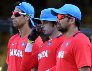 Ashish Nehra, Sreesanth and Zaheer Khan look on during a training session, Chennai, March 19, 2011