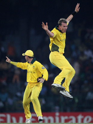 Brett Lee enjoys another wicket, Australia v Pakistan, Group A, World Cup 2011, Colombo, March 19, 2011
