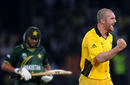 Jason Krejza was rewarded for a good spell when Shahid Afridi holed out to long-on, Australia v Pakistan, Group A, World Cup 2011, Colombo, March 19, 2011