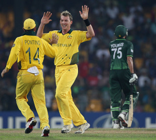 Brett Lee returned with the old ball to remove Younis Khan, Australia v Pakistan, Group A, World Cup 2011, Colombo, March 19, 2011