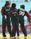 Nehemiah Odhiambo and Alex Obanda with their version of celebrating the fall of a wicket, Kenya v Zimbabwe, Group A, World Cup 2011, Kolkata, March 20, 2011