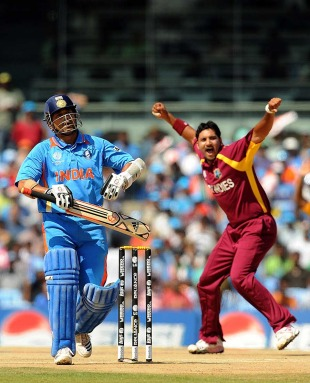 Ravi Rampaul dismissed Sachin Tendulkar early, India v West Indies, Group B, World Cup 2011, Chennai, March 20, 2011
