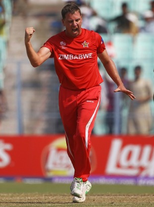 Ray Price celebrates Steve Tikolo's wicket, Kenya v Zimbabwe, Group A, World Cup 2011, Kolkata, March 20, 2011