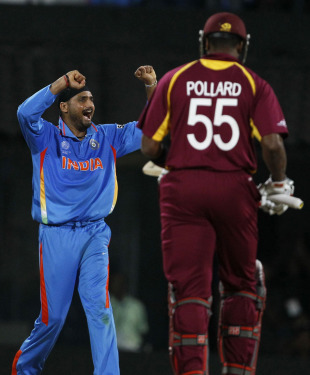 Harbhajan Singh celebrates after getting rid of Kieron Pollard, India v West Indies, Group B, World Cup 2011, March 20, 2011