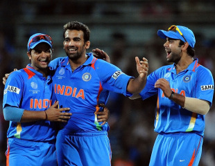 Zaheer Khan is congratulated on dismissing Devon Smith, India v West Indies, Group B, World Cup 2011, March 20, 2011