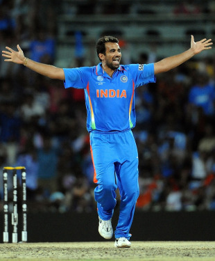 Zaheer Khan celebrates after bowling Devon Smith, India v West Indies, Group B, World Cup 2011, March 20, 2011