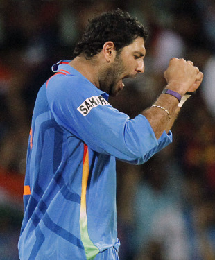 Yuvraj Singh celebrates his second wicket, India v West Indies, Group B, World Cup 2011, March 20, 2011