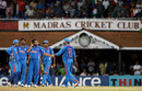 India's players gather together after Ramnaresh Sarwan holed out, India v West Indies, Group B, World Cup 2011, March 20, 2011