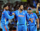 Yuvraj Singh is congratulated on dismissing Devon Thomas, India v West Indies, Group B, World Cup 2011, March 20, 2011