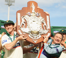 Victorious Tasmania captain George Bailey and coach Tim Coyle hold the Sheffield Shield aloft, Tasmania v New South Wales, Sheffield Shield final, Hobart, March 21, 2011