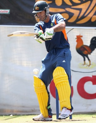 Ricky Ponting bats in the nets on the eve of Australia's quarter-final against India, World Cup, Ahmedabad, March 23, 2011