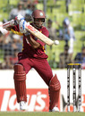 Shivnarine Chanderpaul attempts to pick a gap on the off side