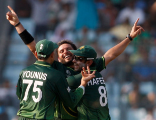 Shahid Afridi is ecstatic after getting Kieron Pollard cheaply, Pakistan v West Indies, 1st quarter-final, World Cup 2011, March 23, 2011