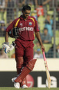 Shivnarine Chanderpaul looks dejected as wickets tumble at the other end