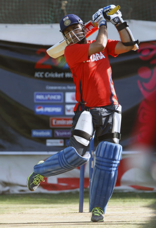 Virender Sehwag has a bat in the nets, Ahmedabad, March 23, 2011