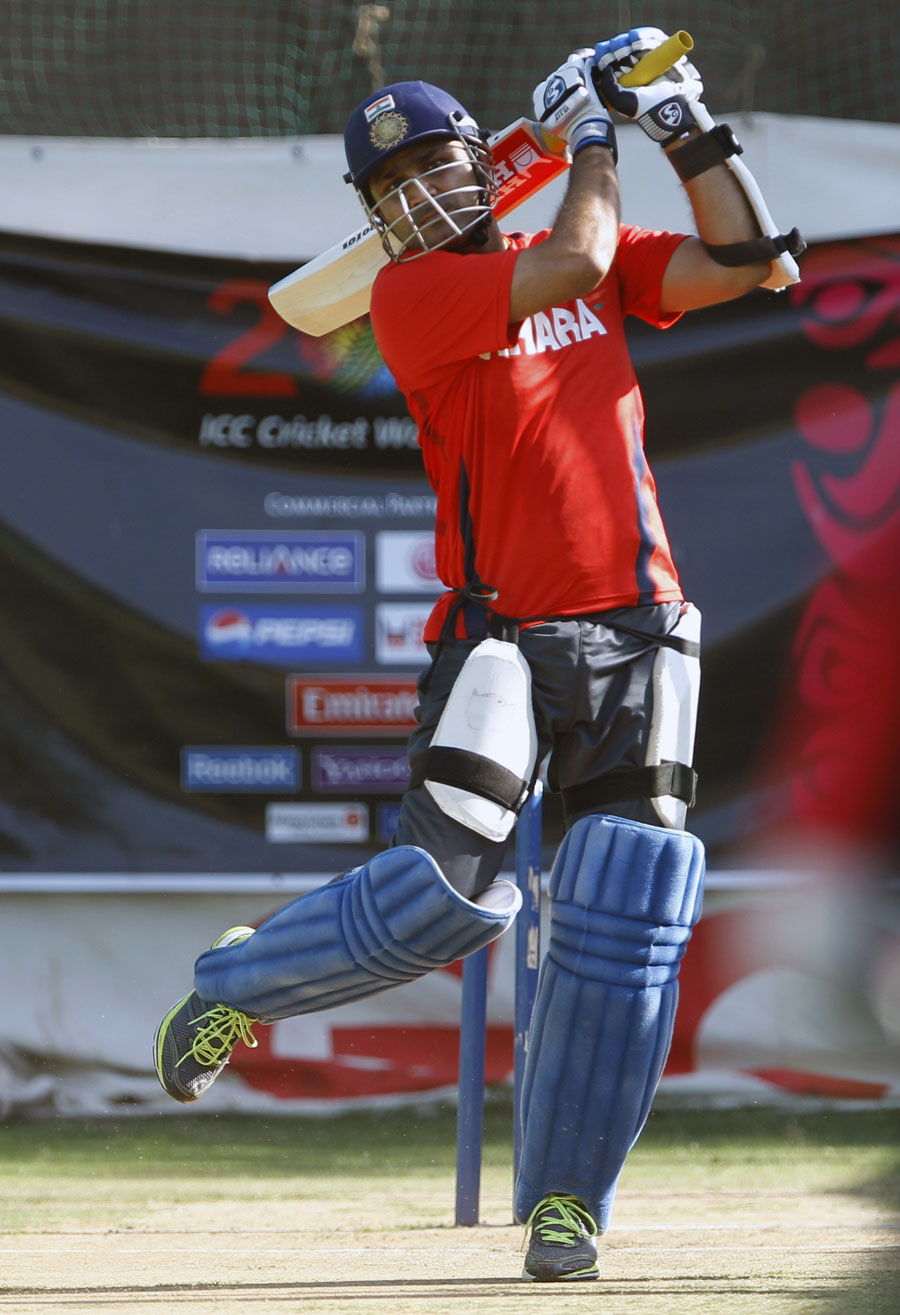 Virender Sehwag has a bat in the nets