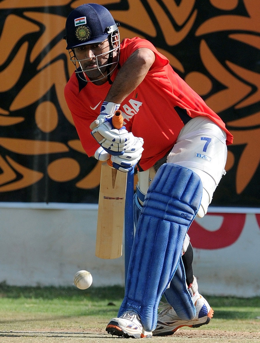MS Dhoni practises his defence