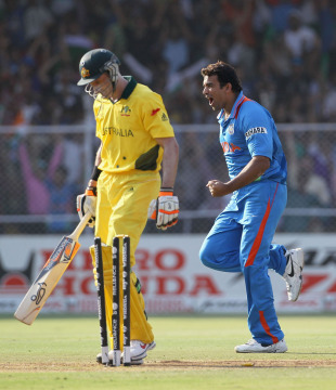 Zaheer Khan got Michael Hussey cheaply, India v Australia, 2nd quarter-final, Ahmedabad, World Cup 2011, March 24, 2011