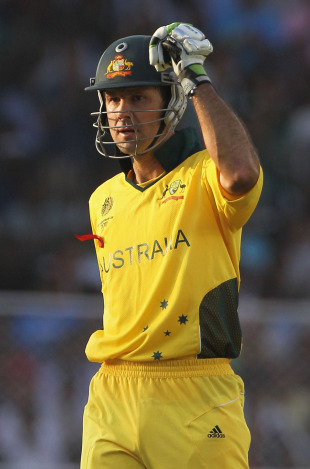 Ricky Ponting pumps his fist on getting to a century, India v Australia, 2nd quarter-final, Ahmedabad, World Cup 2011, March 24, 2011