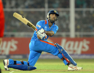 Yuvraj Singh hits on the up, India v Australia, 2nd quarter-final, Ahmedabad, World Cup 2011, March 24, 2011