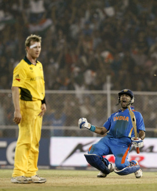 Yuvraj Singh clinched a tight quarter-final against Australia in Ahmedabad, with a half-century that helped India recover from a nervy situation