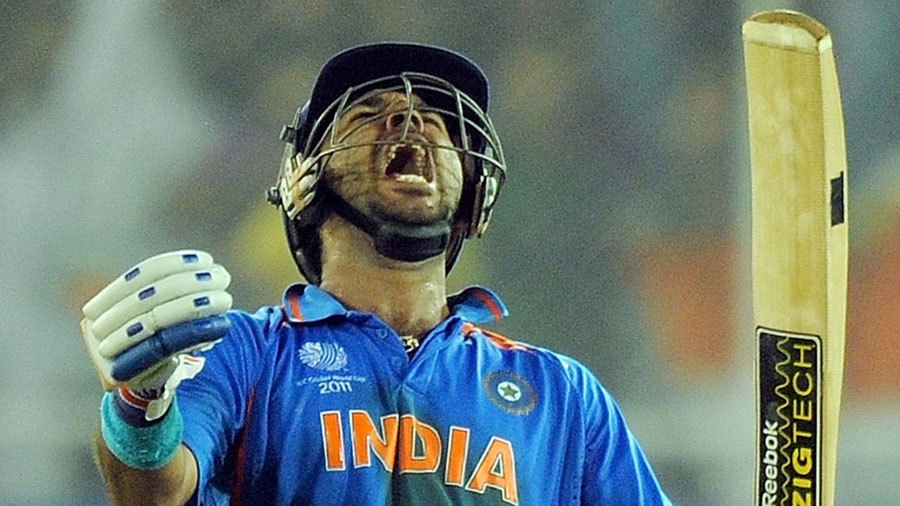 Yuvraj Singh lets out a victory cry