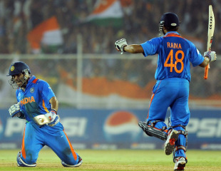 Yuvraj Singh and Suresh Raina celebrate India's win