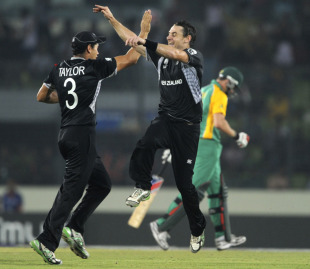 Nathan McCullum celebrates the wicket of Dale Steyn, New Zealand v South Africa, 3rd quarter-final, Mirpur, World Cup 2011, March 25, 2011