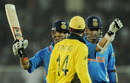 Sachin Tendulkar gestures to Ricky Ponting as Virender Sehwag looks on, India v Australia, 2nd quarter-final, World Cup, Ahmedabad, March 24, 2011