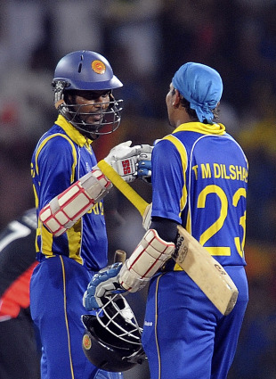 Tillakaratne Dilshan and Upul Tharanga shared a mammoth opening stand, Sri Lanka v England, 4th quarter-final, World Cup 2011, Colombo, March 26 2011