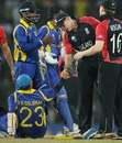 Andrew Strauss congratulated Tillakaratne Dilshan after Sri Lanka's win, Sri Lanka v England, 4th quarter-final, World Cup 2011, Colombo, March 26 2011