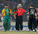 Nigel Llong intervenes in an argument between Faf du Plessis and Scott Styris, New Zealand v South Africa, 3rd quarter-final, World Cup, March 25, 2011